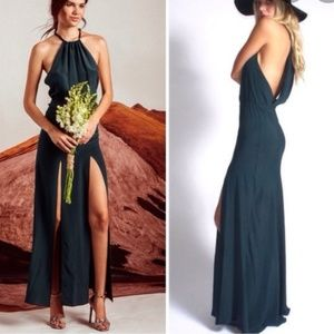 SCF film set green ONYX slit halter maxi dress xs